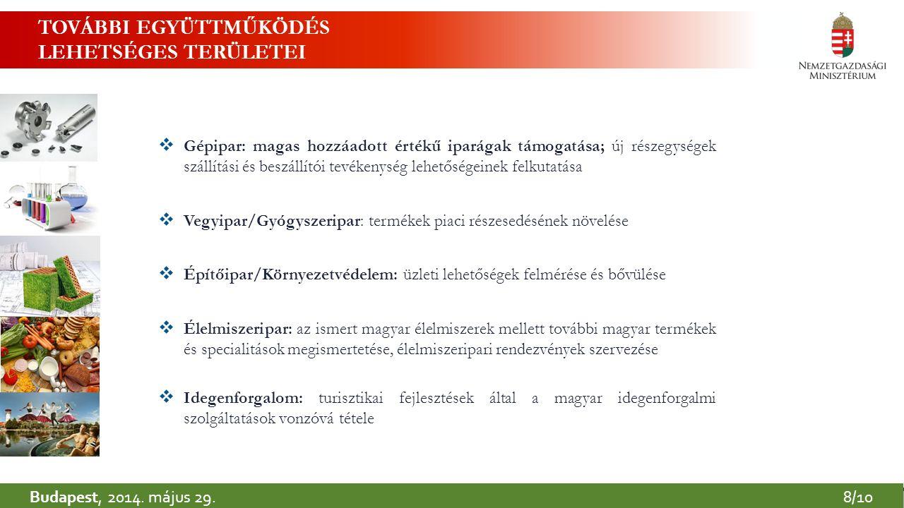 Budapest, 2014. május 29.8/10 TOVÁBBI EGYÜTTMŰKÖDÉS LEHETSÉGES TERÜLETEI  Gépipar: magas hozzáadott értékű iparágak támogatása; új részegységek száll