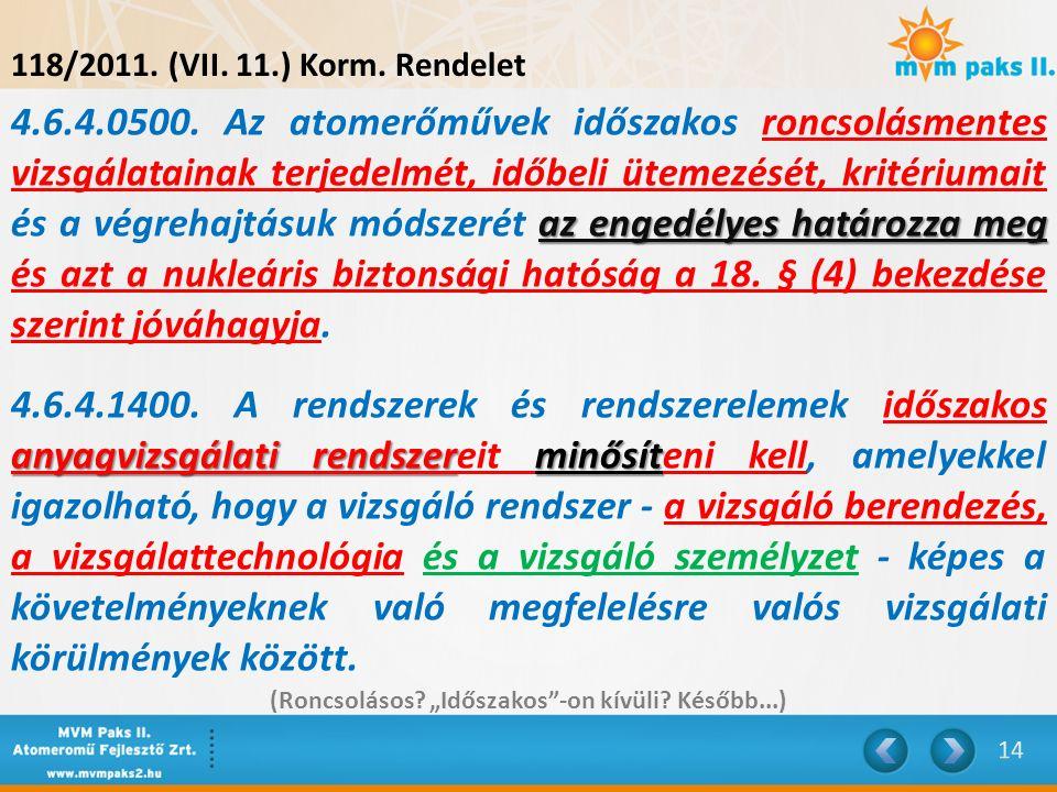 118/2011. (VII. 11.) Korm. Rendelet az engedélyes határozza meg 4.6.4.0500. Az atomerőművek időszakos roncsolásmentes vizsgálatainak terjedelmét, időb