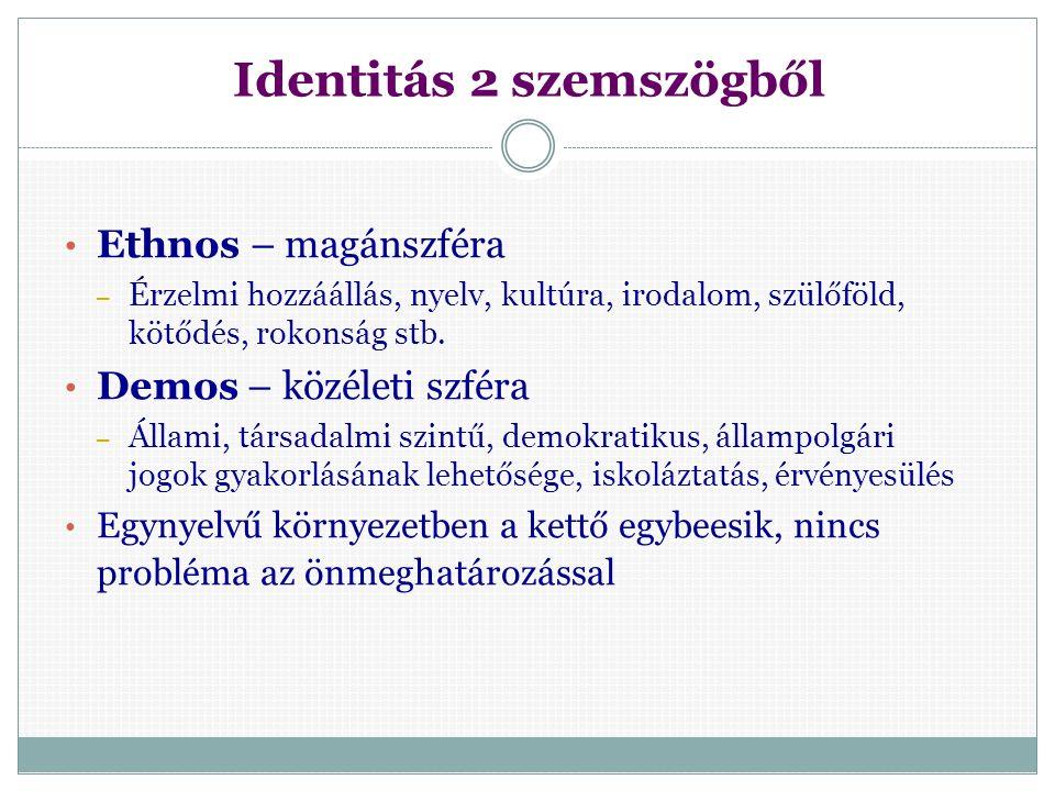 Az identitás tartalma EU tagállamok:  nemzetközi migráció – a nemzetállamok hagyományos identitása megváltozott Európa:  növekvő európai szintű együttműködés és integráció – 'európai identitás' fogalma Világ:  egyre kisebb és interaktívabb a világ – gyorsabb információáramlás, állandóan fejlődő kommunikációs technológia