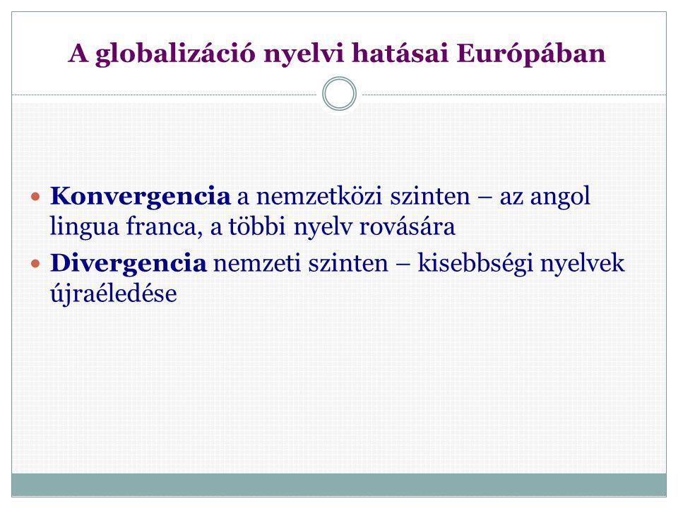 Nyelv, kultúra, identitás Nyelv és identitás  Egynyelvű társadalomban  Kisebbségekhez tartozók identitása  Nyelv határozza meg (pl.