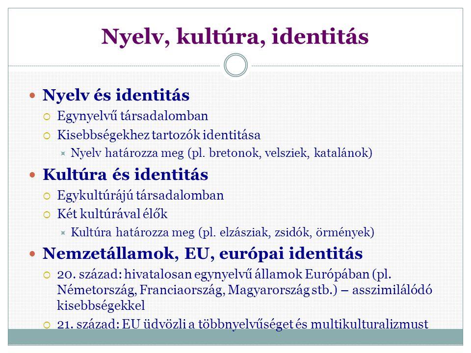 Nyelv és identitás: ethnos szint Kisebbséghez tartozó kétnyelvű családokban Vegyesházasságokban Nyelvromlás, nyelvvesztés – identitásproblémához vezethet