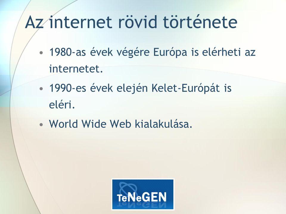 Az internet rövid története 1980-as évek végére Európa is elérheti az internetet.