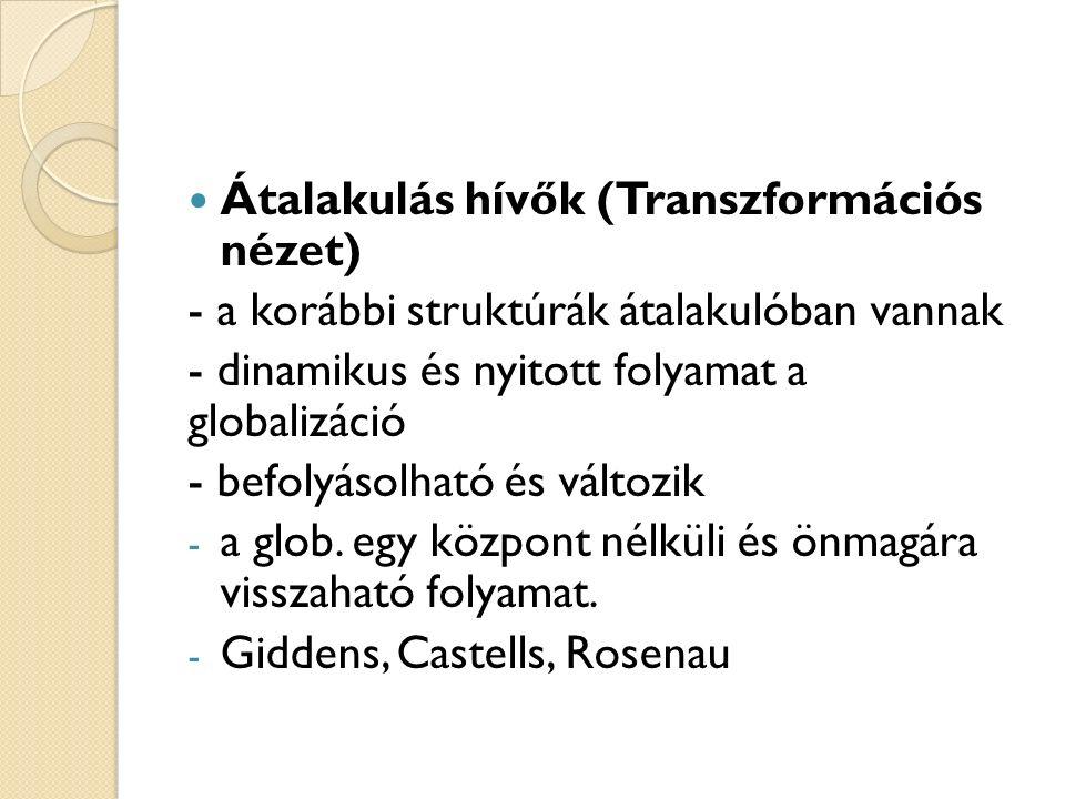 Átalakulás hívők (Transzformációs nézet) - a korábbi struktúrák átalakulóban vannak - dinamikus és nyitott folyamat a globalizáció - befolyásolható és változik - a glob.