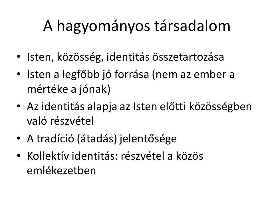 A hagyományos társadalom Isten, közösség, identitás összetartozása Isten a legfőbb jó forrása (nem az ember a mértéke a jónak) Az identitás alapja az