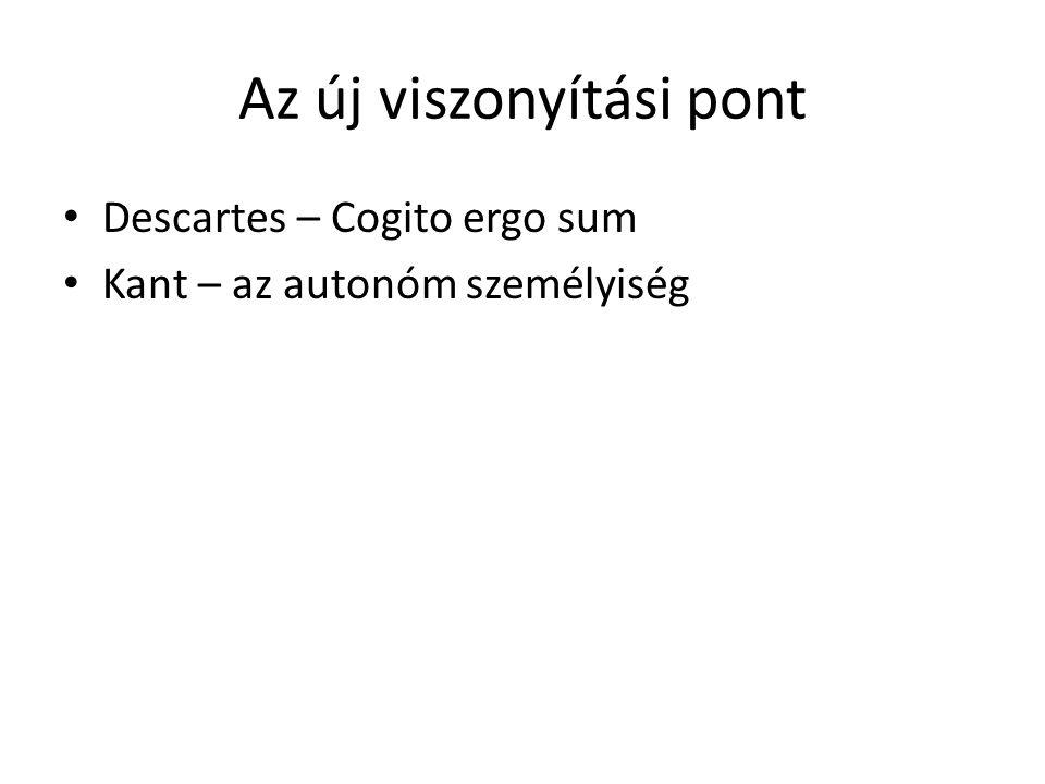 Az új viszonyítási pont Descartes – Cogito ergo sum Kant – az autonóm személyiség