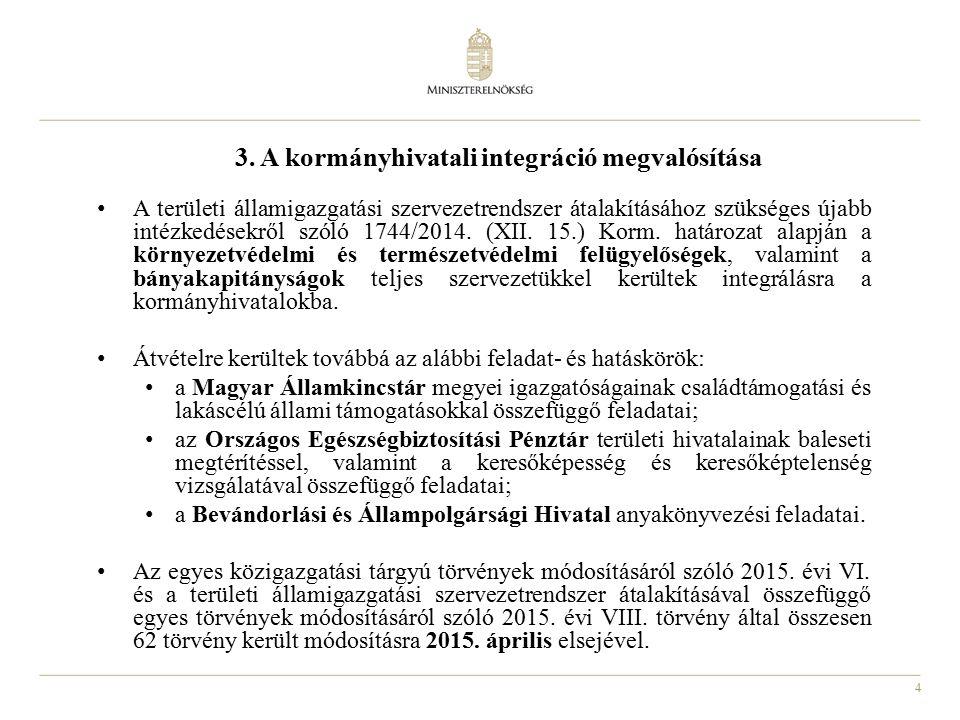 4 3. A kormányhivatali integráció megvalósítása A területi államigazgatási szervezetrendszer átalakításához szükséges újabb intézkedésekről szóló 1744