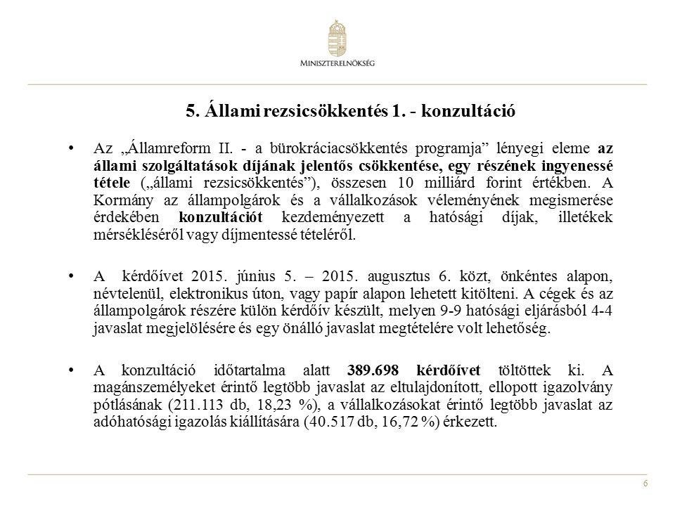 """6 5. Állami rezsicsökkentés 1. - konzultáció Az """"Államreform II."""