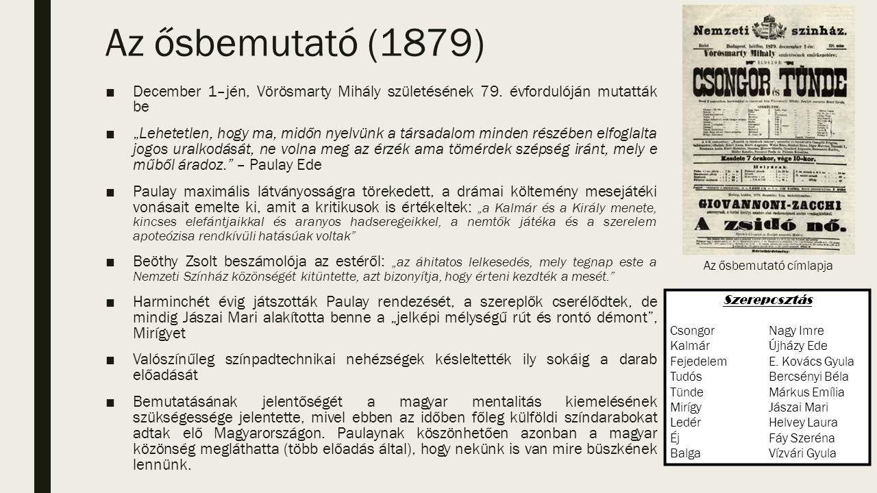 Az ősbemutató (1879) ■December 1–jén, Vörösmarty Mihály születésének 79.