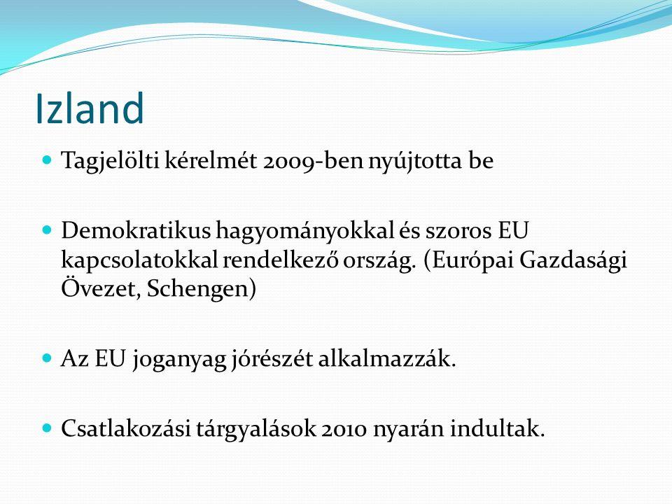 Izland Tagjelölti kérelmét 2009-ben nyújtotta be Demokratikus hagyományokkal és szoros EU kapcsolatokkal rendelkező ország. (Európai Gazdasági Övezet,