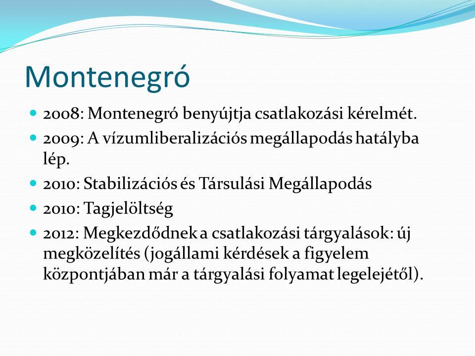 Montenegró 2008: Montenegró benyújtja csatlakozási kérelmét. 2009: A vízumliberalizációs megállapodás hatályba lép. 2010: Stabilizációs és Társulási M
