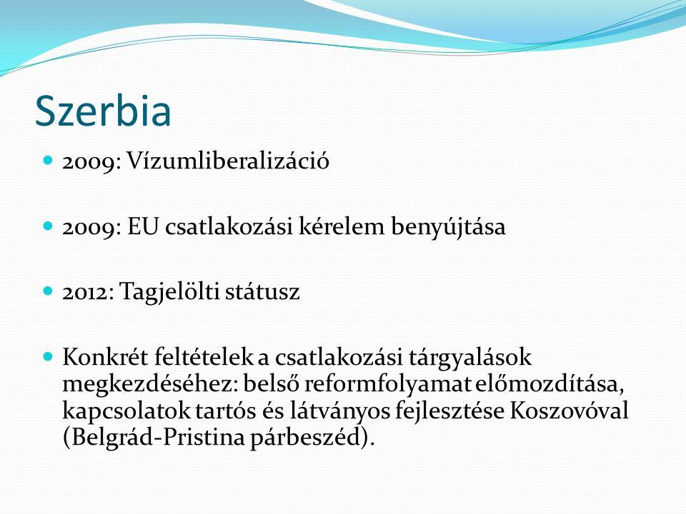 Szerbia 2009: Vízumliberalizáció 2009: EU csatlakozási kérelem benyújtása 2012: Tagjelölti státusz Konkrét feltételek a csatlakozási tárgyalások megke