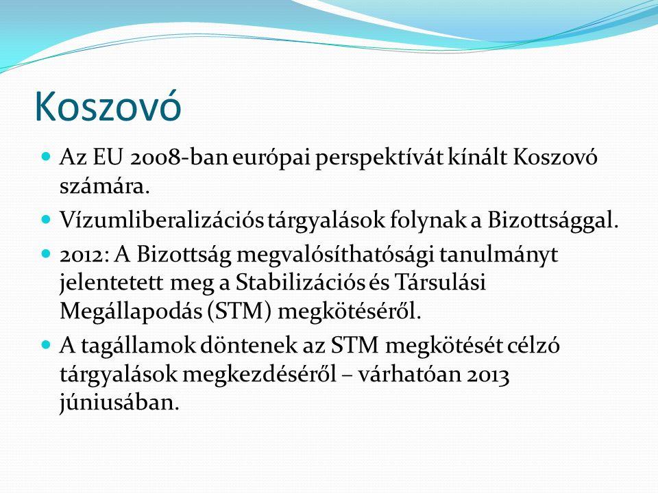 Koszovó Az EU 2008-ban európai perspektívát kínált Koszovó számára. Vízumliberalizációs tárgyalások folynak a Bizottsággal. 2012: A Bizottság megvalós