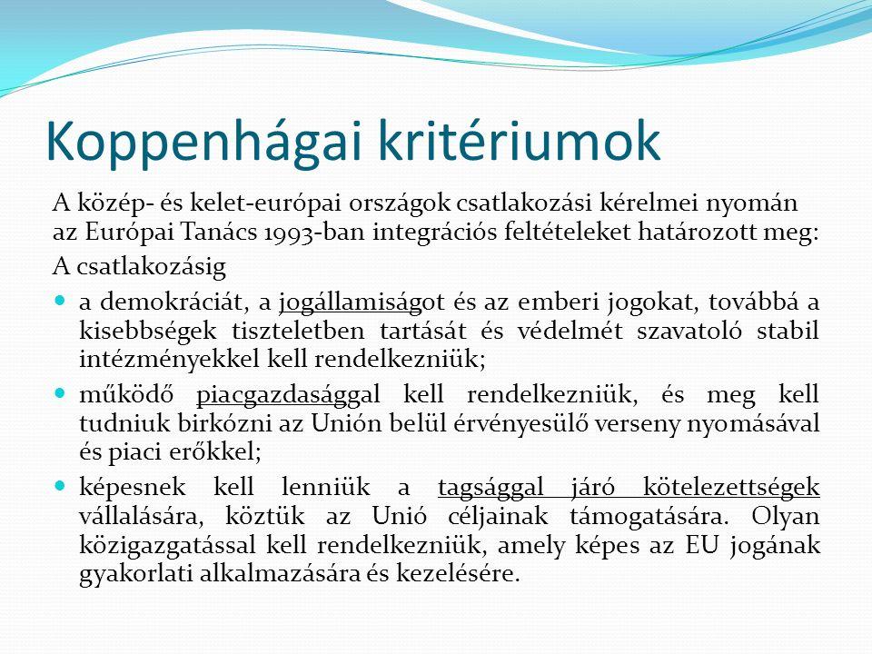 Koppenhágai kritériumok A közép- és kelet-európai országok csatlakozási kérelmei nyomán az Európai Tanács 1993-ban integrációs feltételeket határozott meg: A csatlakozásig a demokráciát, a jogállamiságot és az emberi jogokat, továbbá a kisebbségek tiszteletben tartását és védelmét szavatoló stabil intézményekkel kell rendelkezniük; működő piacgazdasággal kell rendelkezniük, és meg kell tudniuk birkózni az Unión belül érvényesülő verseny nyomásával és piaci erőkkel; képesnek kell lenniük a tagsággal járó kötelezettségek vállalására, köztük az Unió céljainak támogatására.