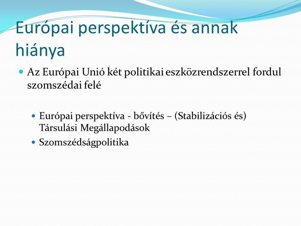 Európai perspektíva és annak hiánya Az Európai Unió két politikai eszközrendszerrel fordul szomszédai felé Európai perspektíva - bővítés – (Stabilizációs és) Társulási Megállapodások Szomszédságpolitika