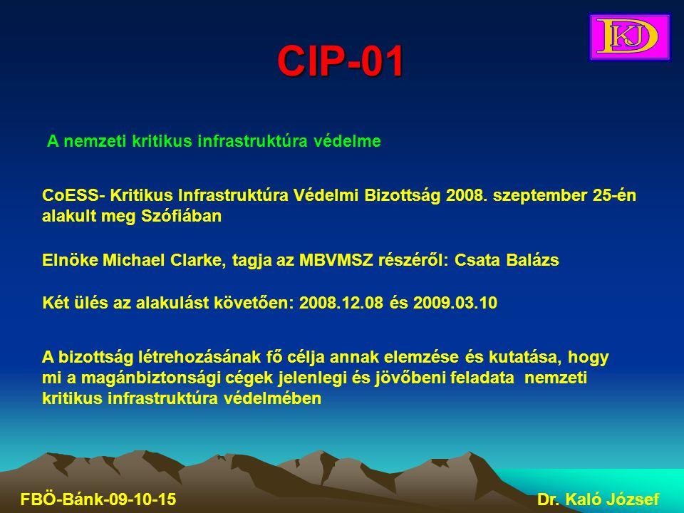 CIP-01 FBÖ-Bánk-09-10-15Dr. Kaló József A nemzeti kritikus infrastruktúra védelme CoESS- Kritikus Infrastruktúra Védelmi Bizottság 2008. szeptember 25