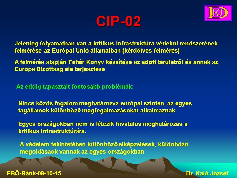CIP-02 FBÖ-Bánk-09-10-15Dr. Kaló József Jelenleg folyamatban van a kritikus infrastruktúra védelmi rendszerének felmérése az Európai Unió államaiban (