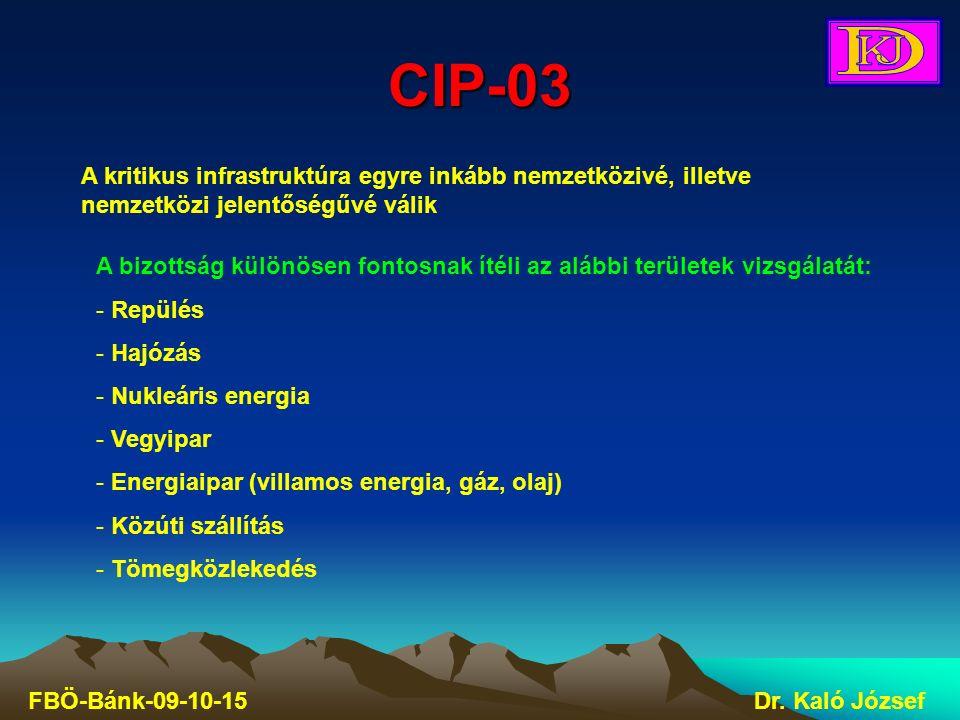 CIP-03 FBÖ-Bánk-09-10-15Dr. Kaló József A kritikus infrastruktúra egyre inkább nemzetközivé, illetve nemzetközi jelentőségűvé válik A bizottság különö