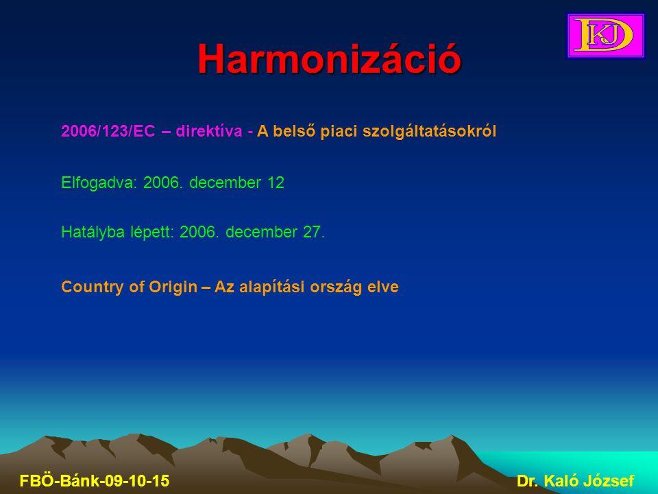 Harmonizáció FBÖ-Bánk-09-10-15Dr. Kaló József 2006/123/EC – direktíva - A belső piaci szolgáltatásokról Elfogadva: 2006. december 12 Hatályba lépett: