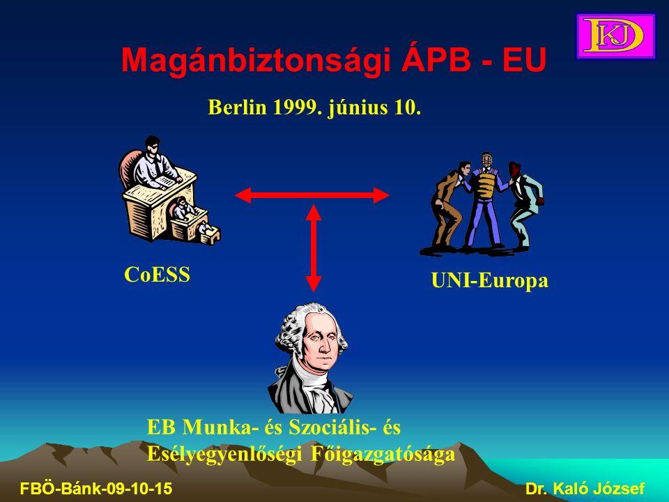 Magánbiztonsági ÁPB - EU FBÖ-Bánk-09-10-15Dr. Kaló József CoESS UNI-Europa EB Munka- és Szociális- és Esélyegyenlőségi Főigazgatósága Berlin 1999. jún