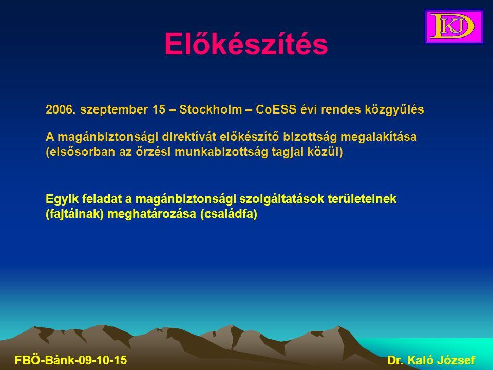 Előkészítés FBÖ-Bánk-09-10-15Dr. Kaló József 2006. szeptember 15 – Stockholm – CoESS évi rendes közgyűlés A magánbiztonsági direktívát előkészítő bizo