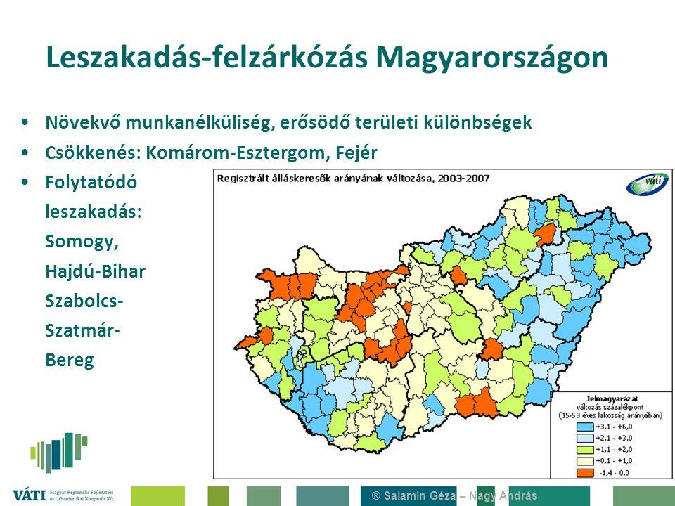 ® Salamin Géza – Nagy András Növekvő munkanélküliség, erősödő területi különbségek Csökkenés: Komárom-Esztergom, Fejér Folytatódó leszakadás: Somogy, Hajdú-Bihar Szabolcs- Szatmár- Bereg Leszakadás-felzárkózás Magyarországon