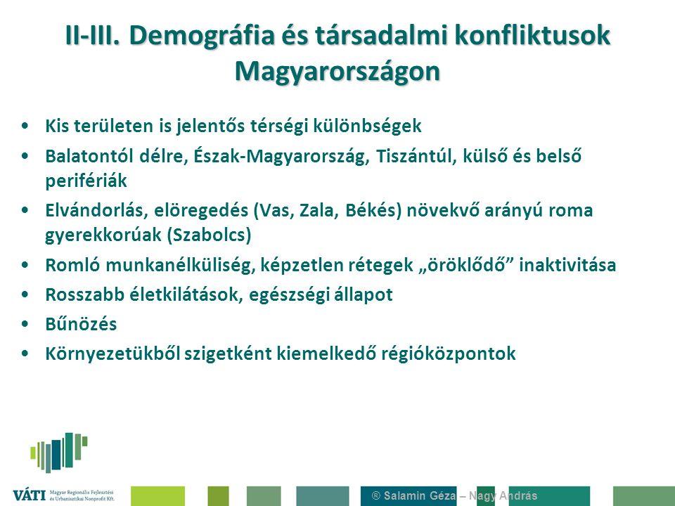 ® Salamin Géza – Nagy András II-III. Demográfia és társadalmi konfliktusok Magyarországon Kis területen is jelentős térségi különbségek Balatontól dél