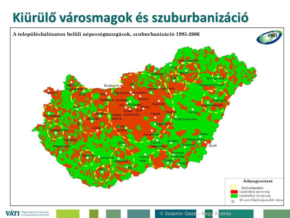 Szuburbanizáció Kiürülő városmagok és szuburbanizáció