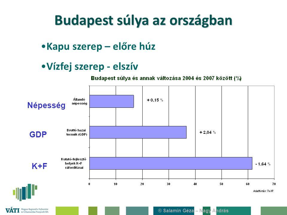 ® Salamin Géza – Nagy András Népesség GDP K+F Kapu szerep – előre húz Vízfej szerep - elszív Budapest súlya az országban