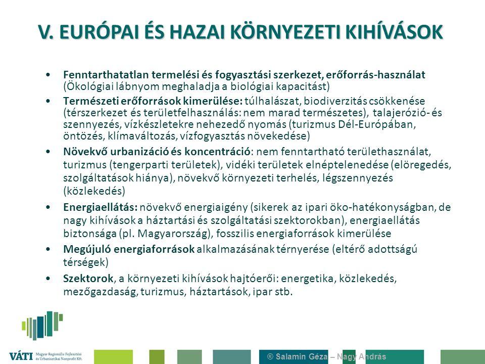 Fenntarthatatlan termelési és fogyasztási szerkezet, erőforrás-használat (Ökológiai lábnyom meghaladja a biológiai kapacitást) Természeti erőforrások kimerülése: túlhalászat, biodiverzitás csökkenése (térszerkezet és területfelhasználás: nem marad természetes), talajerózió- és szennyezés, vízkészletekre nehezedő nyomás (turizmus Dél-Európában, öntözés, klímaváltozás, vízfogyasztás növekedése) Növekvő urbanizáció és koncentráció: nem fenntartható területhasználat, turizmus (tengerparti területek), vidéki területek elnéptelenedése (elöregedés, szolgáltatások hiánya), növekvő környezeti terhelés, légszennyezés (közlekedés) Energiaellátás: növekvő energiaigény (sikerek az ipari öko-hatékonyságban, de nagy kihívások a háztartási és szolgáltatási szektorokban), energiaellátás biztonsága (pl.