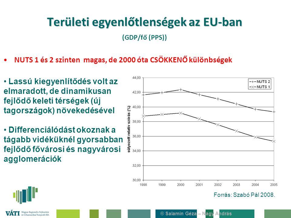 ® Salamin Géza – Nagy András Területi egyenlőtlenségek az EU-ban Területi egyenlőtlenségek az EU-ban (GDP/fő (PPS)) NUTS 1 és 2 szinten magas, de 2000