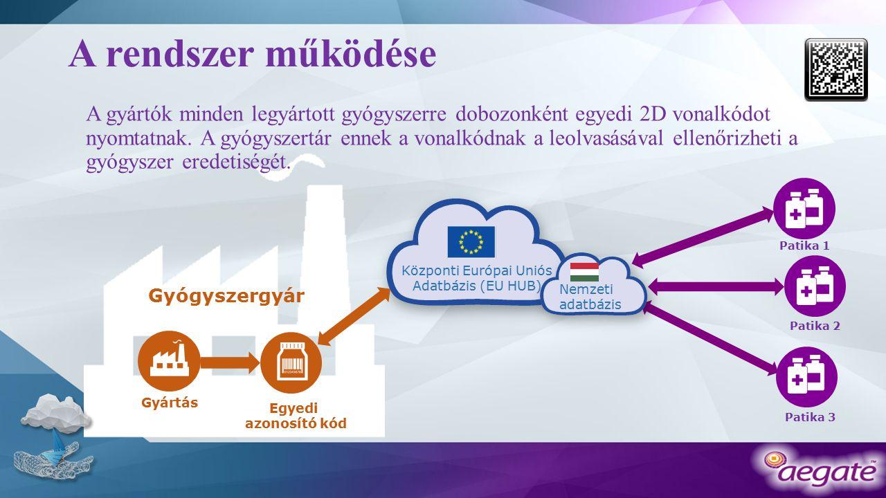 A rendszer működése A gyártók minden legyártott gyógyszerre dobozonként egyedi 2D vonalkódot nyomtatnak.