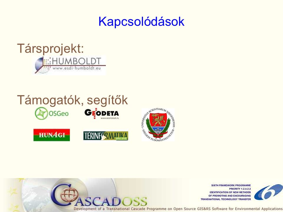 Kapcsolódások Társprojekt: Támogatók, segítők