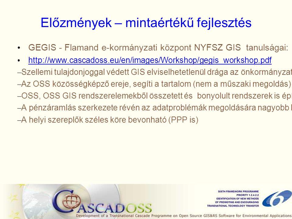Előzmények – mintaértékű fejlesztés GEGIS - Flamand e-kormányzati központ NYFSZ GIS tanulságai: http://www.cascadoss.eu/en/images/Workshop/gegis_workshop.pdf – Szellemi tulajdonjoggal védett GIS elviselhetetlenül drága az önkormányzatoknak – Az OSS közösségképző ereje, segíti a tartalom (nem a műszaki megoldás) köré szervezni az alkalmazást – OSS, OSS GIS rendszerelemekből összetett és bonyolult rendszerek is építhetők – A pénzáramlás szerkezete révén az adatproblémák megoldására nagyobb lehetőség van – A helyi szereplők széles köre bevonható (PPP is)