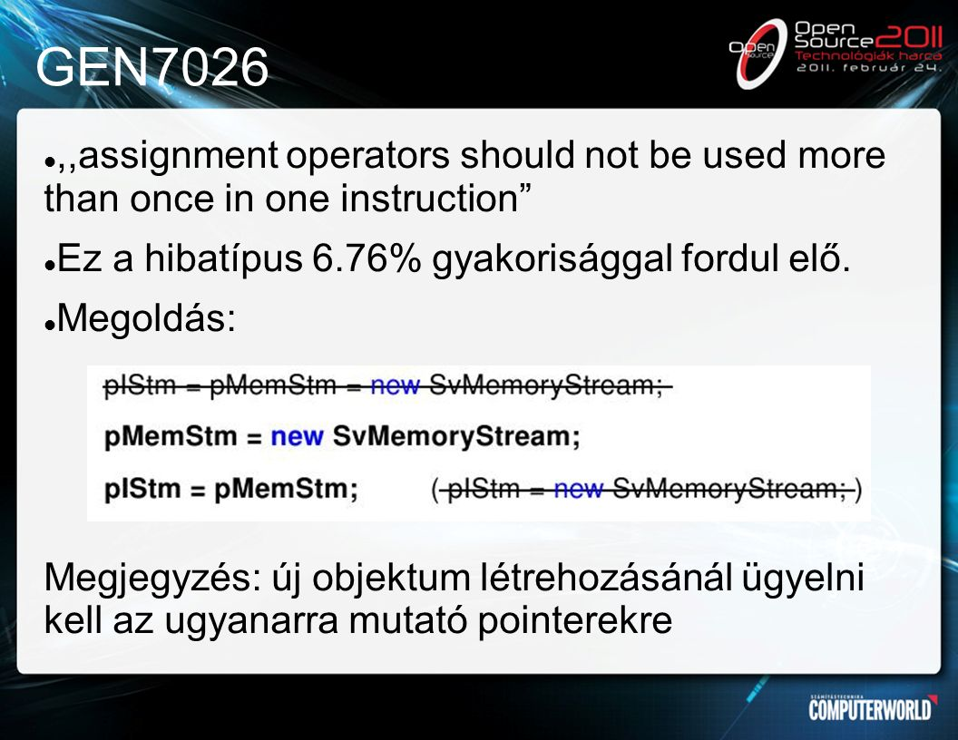 GEN7026,,assignment operators should not be used more than once in one instruction Ez a hibatípus 6.76% gyakorisággal fordul elő.