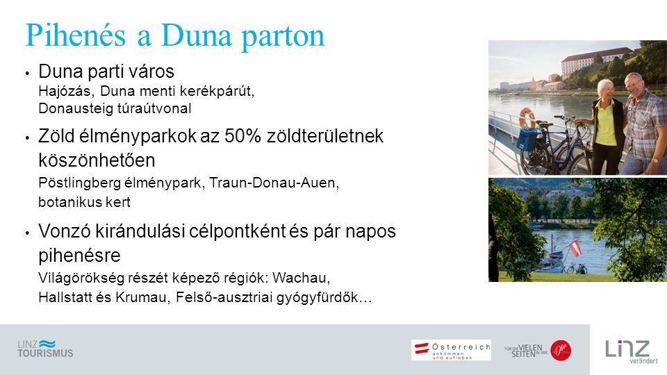 Duna parti város Hajózás, Duna menti kerékpárút, Donausteig túraútvonal Zöld élményparkok az 50% zöldterületnek köszönhetően Pöstlingberg élménypark, Traun-Donau-Auen, botanikus kert Vonzó kirándulási célpontként és pár napos pihenésre Világörökség részét képező régiók: Wachau, Hallstatt és Krumau, Felső-ausztriai gyógyfürdők… Pihenés a Duna parton