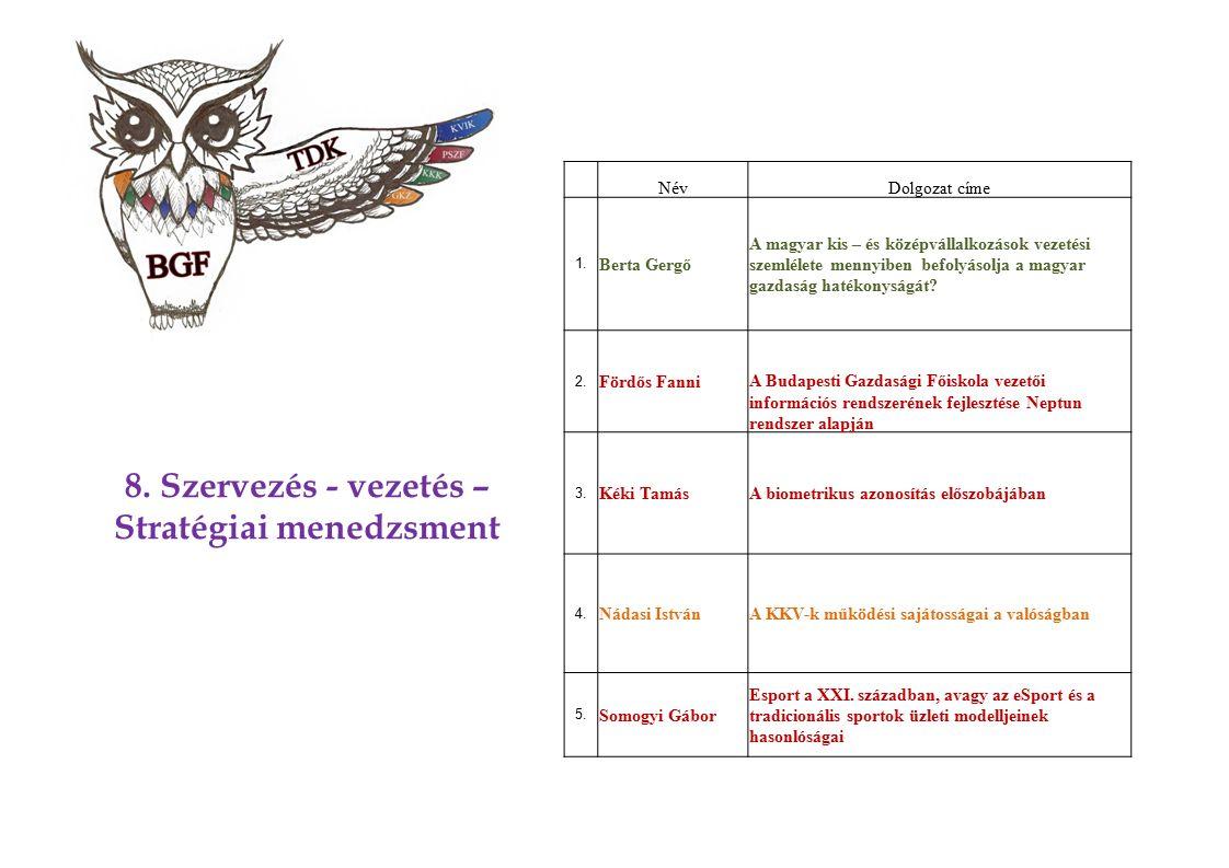 8. Szervezés - vezetés – Stratégiai menedzsment NévDolgozat címe 1. Berta Gergő A magyar kis – és középvállalkozások vezetési szemlélete mennyiben bef