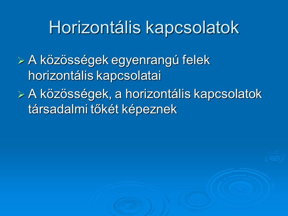 Horizontális kapcsolatok  A közösségek egyenrangú felek horizontális kapcsolatai  A közösségek, a horizontális kapcsolatok társadalmi tőkét képeznek