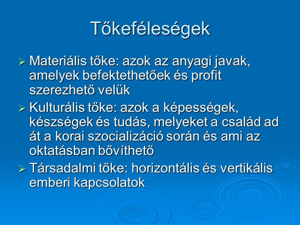 Tőkeféleségek  Materiális tőke: azok az anyagi javak, amelyek befektethetőek és profit szerezhető velük  Kulturális tőke: azok a képességek, készségek és tudás, melyeket a család ad át a korai szocializáció során és ami az oktatásban bővíthető  Társadalmi tőke: horizontális és vertikális emberi kapcsolatok