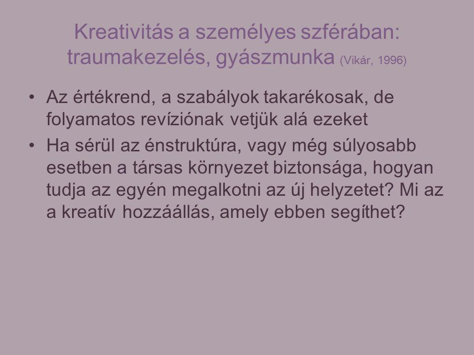 Kreativitás a személyes szférában: traumakezelés, gyászmunka (Vikár, 1996) Az értékrend, a szabályok takarékosak, de folyamatos revíziónak vetjük alá