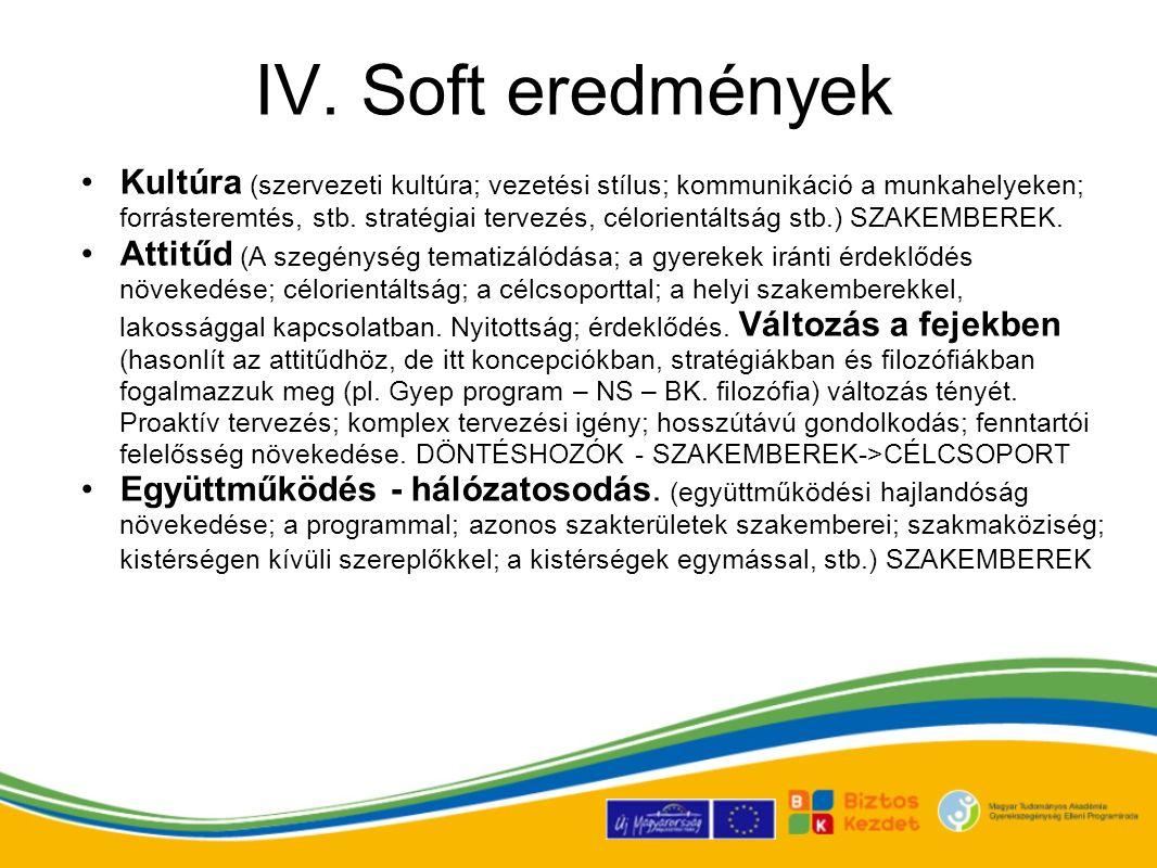 IV. Soft eredmények Kultúra (szervezeti kultúra; vezetési stílus; kommunikáció a munkahelyeken; forrásteremtés, stb. stratégiai tervezés, célorientált