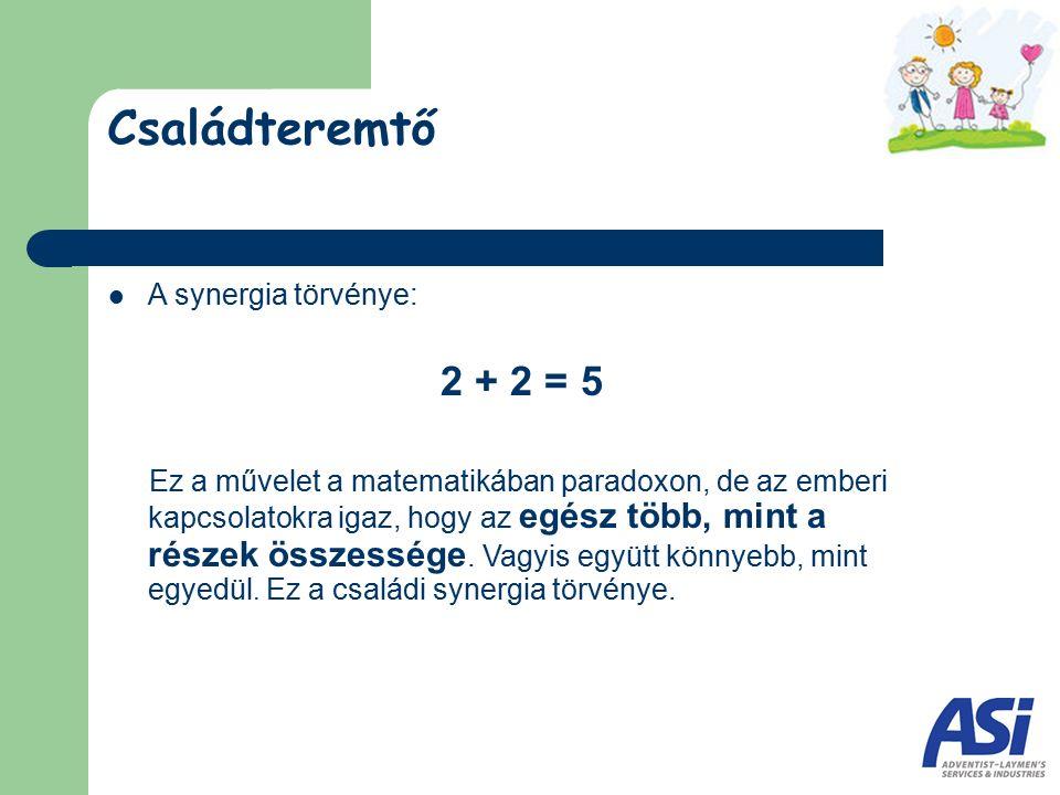 Családteremtő A synergia törvénye: 2 + 2 = 5 Ez a művelet a matematikában paradoxon, de az emberi kapcsolatokra igaz, hogy az egész több, mint a része