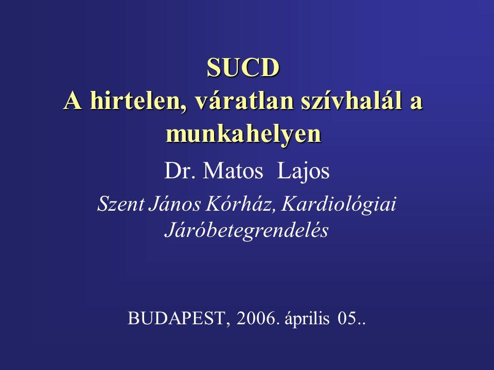 SUCD A hirtelen, váratlan szívhalál a munkahelyen Dr. Matos Lajos Szent János Kórház, Kardiológiai Járóbetegrendelés BUDAPEST, 2006. április 05..