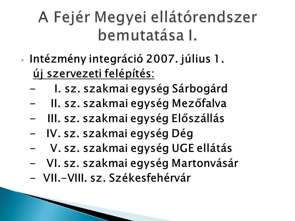 Intézmény integráció 2007. július 1. új szervezeti felépítés: - I.