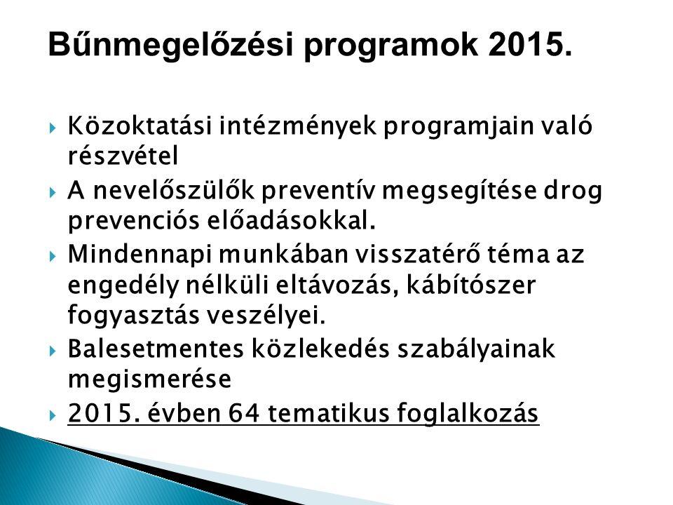  Közoktatási intézmények programjain való részvétel  A nevelőszülők preventív megsegítése drog prevenciós előadásokkal.