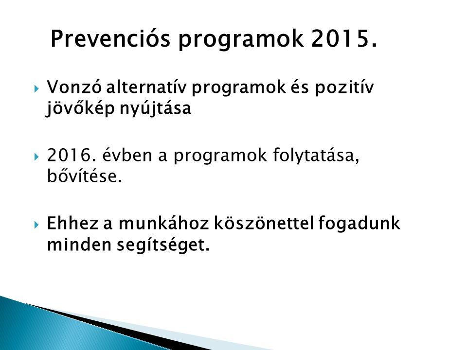  Vonzó alternatív programok és pozitív jövőkép nyújtása  2016.
