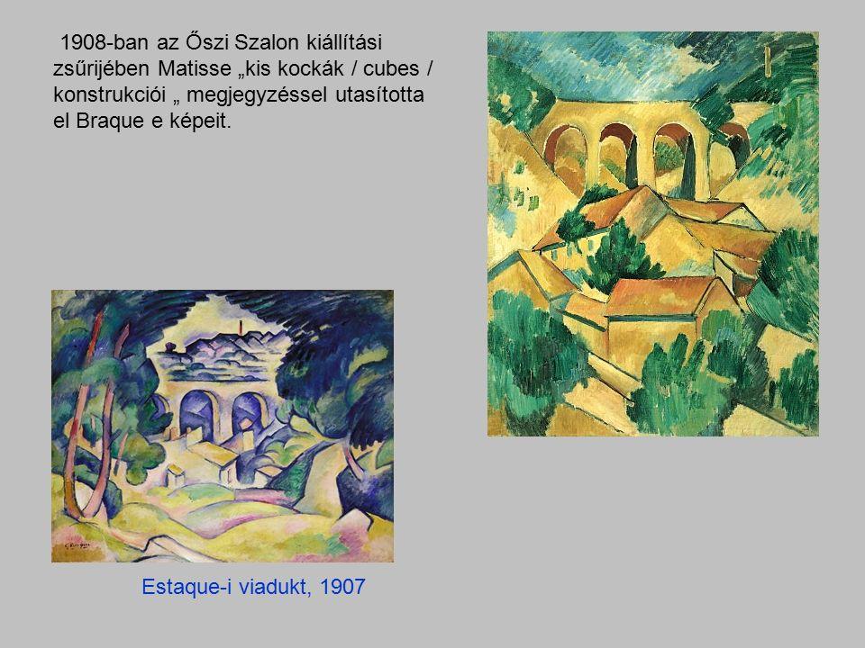 """Estaque-i viadukt, 1907 1908-ban az Őszi Szalon kiállítási zsűrijében Matisse """"kis kockák / cubes / konstrukciói """" megjegyzéssel utasította el Braque e képeit."""