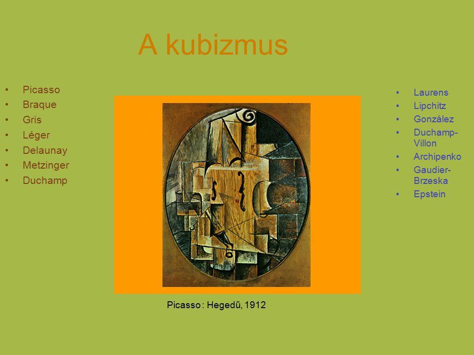 A kubizmus Picasso Braque Gris Léger Delaunay Metzinger Duchamp Laurens Lipchitz González Duchamp- Villon Archipenko Gaudier- Brzeska Epstein Picasso : Hegedű, 1912