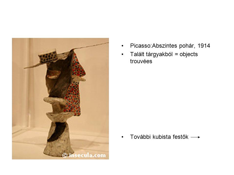Picasso:Abszintes pohár, 1914 Talált tárgyakból = objects trouvées További kubista festők