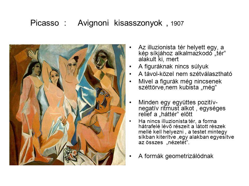 """Picasso : Avignoni kisasszonyok, 1907 Az illuzionista tér helyett egy, a kép síkjához alkalmazkodó """"tér alakult ki, mert A figuráknak nincs súlyuk A távol-közel nem szétválasztható Mivel a figurák még nincsenek széttörve,nem kubista """"még Minden egy együttes pozitív- negatív ritmust alkot, egységes relief a """"háttér előtt Ha nincs illuzionista tér, a forma hátrafelé lévő részeit a látott részek mellé kell helyezni, a testet mintegy síkban kiterítve,egy alakban egyesítve az összes """"nézetét ."""