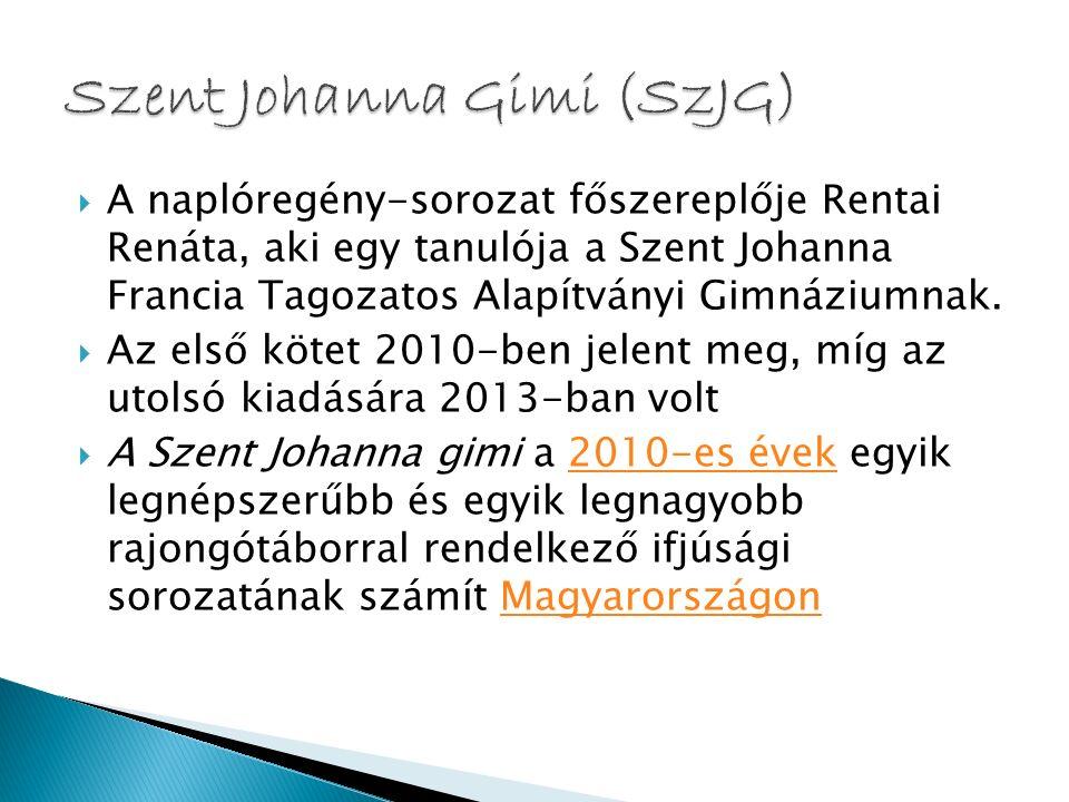  A naplóregény-sorozat főszereplője Rentai Renáta, aki egy tanulója a Szent Johanna Francia Tagozatos Alapítványi Gimnáziumnak.  Az első kötet 2010-